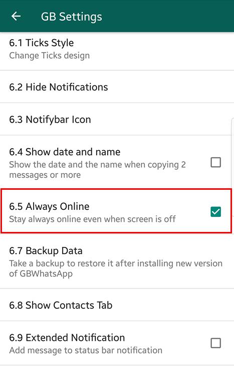 gbwhatsapp always online mod